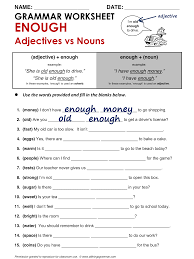 english grammar enough adjectives vs nouns www allthingsgrammar