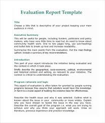 sample evaluation report 11 documents in pdf word