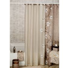 Bathroom Shower Curtain Brown Shower Curtain With White Flowers Placed On The Silver Pole