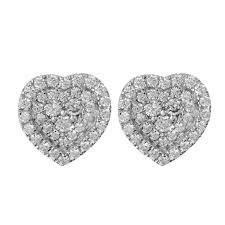 heart shaped diamond earrings mazal diamond 0 58ct f i1 heart shaped diamond stud earrings
