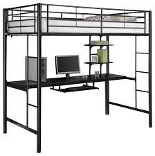Twin Loft Bed With Desk Underneath Walker Edison Sunset Metal Twin Workstation Bunk Bed Black X