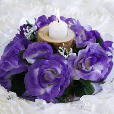 purple roses for sale 16 candle rings with silk roses wedding party flowers for