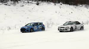 subaru sti rally car ford focus rs and subaru impreza rally car race on snow biser3a