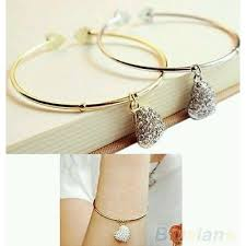 gold simple bracelet images 3021 women simple style gold love heart rhinestone pendant open jpg