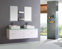 nice white floating modern bathroom vanity with glass top also