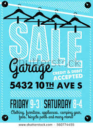 garage yard sale signs box household stock vector 560774455