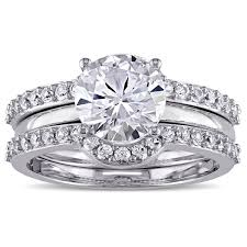 white sapphire wedding rings miadora 10k white gold created white sapphire bridal ring set
