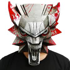 wolf head mask the witcher wild hunt cosplay cool half face pvc