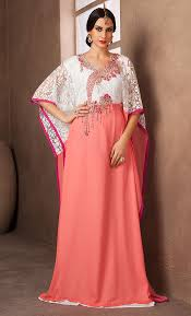 arabic style white and peach color handmade free size kaftan final
