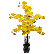 Artificial Flowers In Vase Wholesale 29 In H Yellow Phalaenopsis With Vase Silk Flower Arrangement