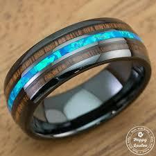 wood rings wedding hi tech black ceramic ring with blue opal hawaiian koa wood tri