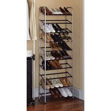 Shoe Rack by Mainstays 10 Tier Shoe Rack Black And Silver Walmart