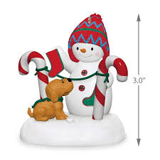 hung with care snowman and puppy plush ornament