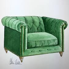 green velvet chair by cheri miller vango original art