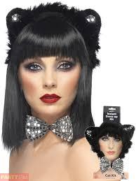 ladies black cat accessories ears bow tie tail halloween fancy