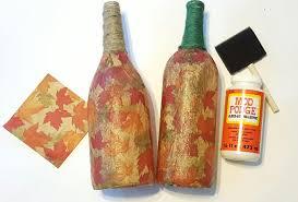 fall upcycle crafts diy mod podge wine bottles youtube