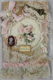 shabby chic roses ooak ooak handmade lace notebook dairy book