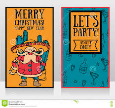two party posters for christmas with cute santa claus in mexican
