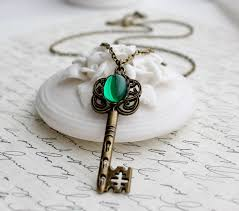 antique silver key necklace images Emerald key necklace in antique brass or antique silver long jpg
