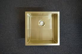 Gold Kitchen Sink 450mm Square Light Gold Handmade Stainless Steel Sink