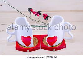 Heart Shaped Mug Heart Shaped Mug With Tea On Denim Background Stock Photo