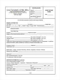 8 counseling intake forms free sample example format download