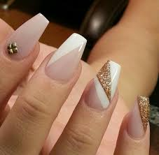 white gold stud coffin acrylic nails nail art
