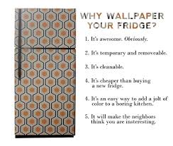 how to make your fridge look like a cabinet i wallpapered the fridge aunt peaches