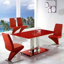 unique z shaped red chairs with tempered glass table for modern