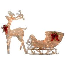 the aisle reindeer pulling sleigh lighted display