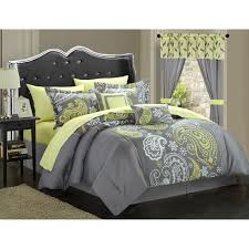 Yellow Grey And White Bedding Chic Home Olivia 20 Piece Paisley Print Reversible Comforter Set