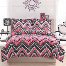 Comforters For Toddler Beds Teen Kid Zigzag Chevron Black White Pink Twin Full Queen