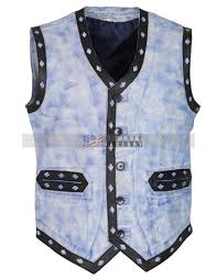 the warriors movie blue waxed leather vest halloween costume