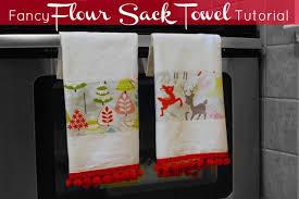 kitchen towel craft ideas no sewing machine required diy fancy flour sack tea towel