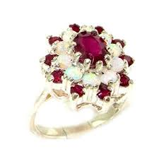natural ruby rings images 925 sterling silver natural ruby and opal womens jpg