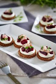 canapé cottage canapes with fish and cottage cheese stock photo pgstudija