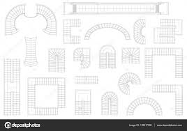 graphic set of stairs in different forms top view vector