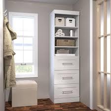 Drawer Storage Units Pur By Bestar 26872 36 In 3 Drawer Storage Tower Hayneedle