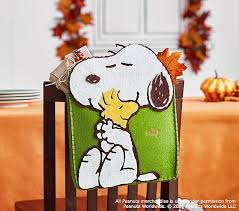 peanuts thanksgiving snoopy chairbacker pottery barn