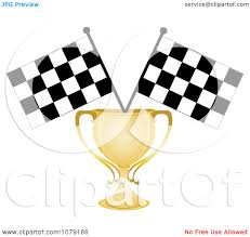 Ford Racing Flag Clipart Gold Trophy Cup And Two Checkered Race Flags Royalty
