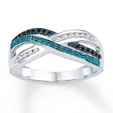 blue fashion rings images Blue black white diamond ring 1 3 ct tw sterling silver jpg