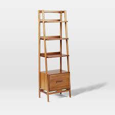 Narrow Bookcase Mid Century Bookshelf Narrow Tower West Elm
