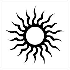 black tribal sun design