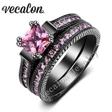 pink and black engagement rings vecalon vintage wedding band ring set for women pink aaaaa