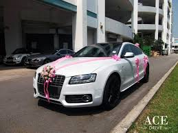 pink audi white audi s5 wedding car decorations by ace drive car rental