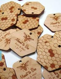 rustic bridal shower favors personalized text honey comb rustic wedding wood gift favor tags