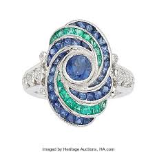 sapphire emerald rings images Diamond sapphire emerald white gold ring estate jewelry chain