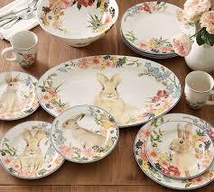bunny tea set floral bunny salad plate mixed set of 4 pottery barn