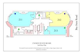 fire escape floor plan 176 bay state road housing boston university