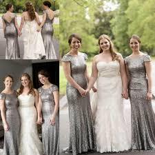 silver bridesmaid dresses 2017 grey silver sequins backless bridesmaid dresses